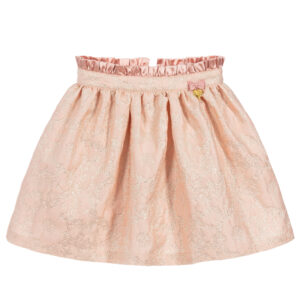 Angel's Face Pink & Gold Jacquard Skirt For Little Princeses
