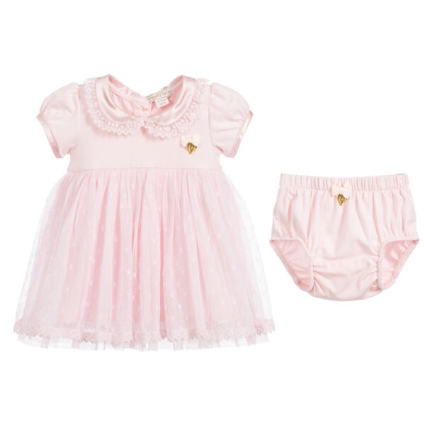 Angel's Face Pink Tulle Dress Set For Baby Girls 3
