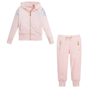 Angel's Face Pink Velour Tracksuit For Girls 1