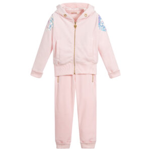 Angel's Face Pink Velour Tracksuit For Girls