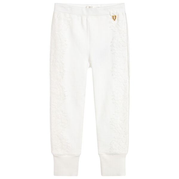 Angel's Face White Cotton Joggers For Girls