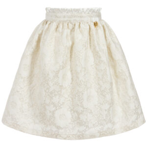 Angel's Face White & Gold Jacquard Skirt Fot Little Princeses