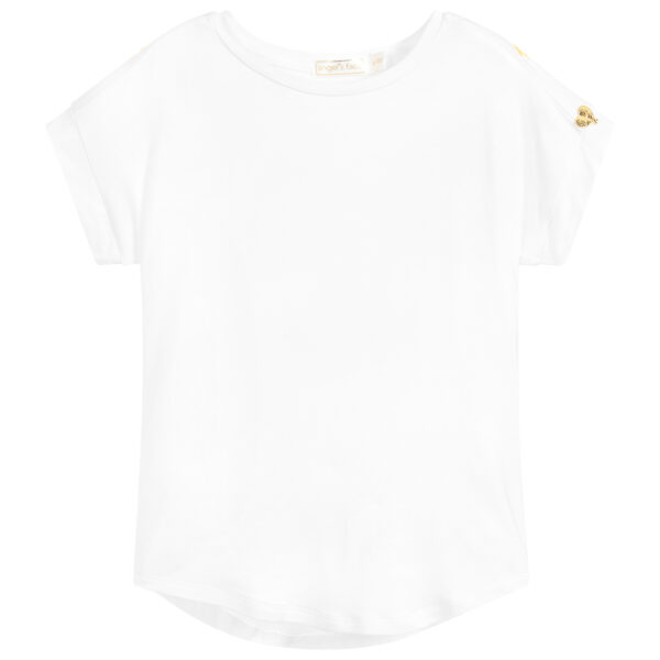 Angel's Face White T-Shirt With Yellow Wings For Girls 1