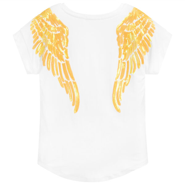 Angel's Face White T-Shirt With Yellow Wings For Girls 2