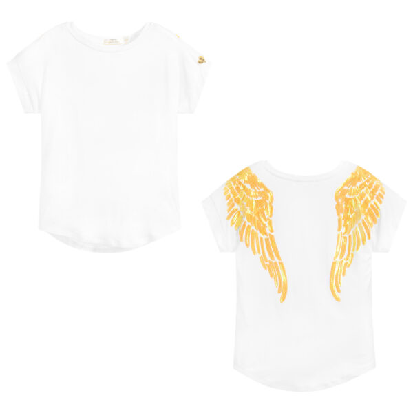 Angel's Face White T-Shirt With Yellow Wings For Girls