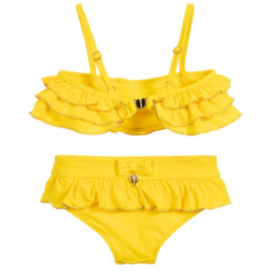 Angel's Face Yellow Ruffle Bikini Set For Little Girla 1