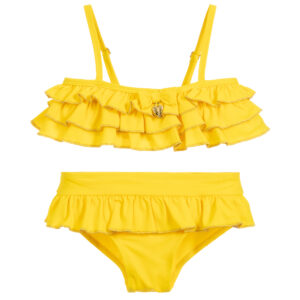 Angel's Face Yellow Ruffle Bikini Set For Little Girla