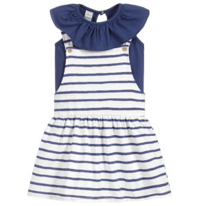 Babidu Girls Striped Pinafore Dress Set