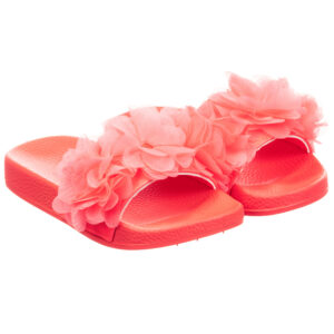 Billieblush Bright Pink Slippers With Flowers