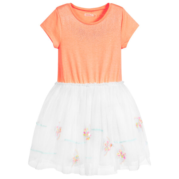 Billieblush Delicate Orange-White Dress For Little Fashionistas