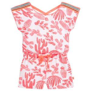 Billieblush Pink Cotton Playsuit With Cactus
