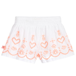 Billieblush White & Orange Shorts With Hearts 1