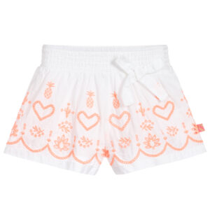 Billieblush White & Orange Shorts With Hearts