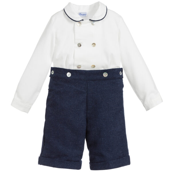 Ancar Blue And White Buster Suit For Boys
