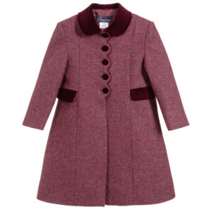 Ancar Girls Burgundy Violet Wool Coat