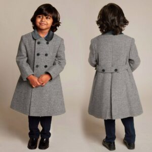 Ancar Grey Wool Coat For Children 1