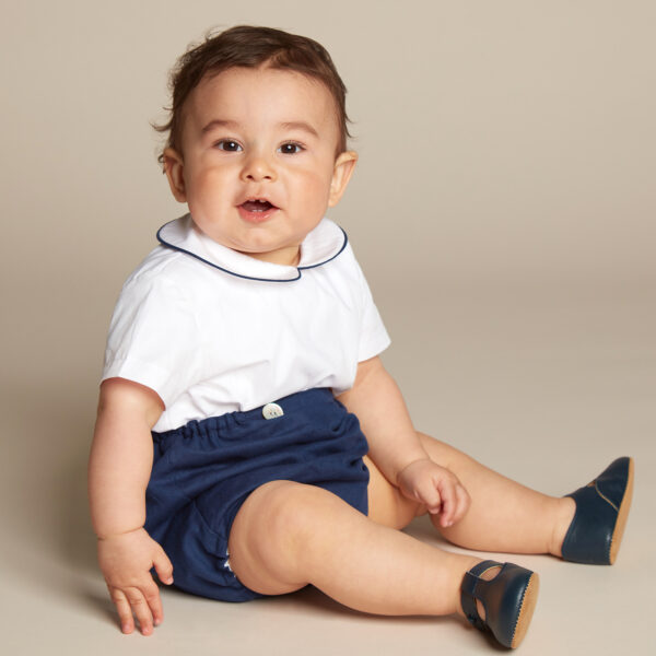 Ancar Navy Blue And White Shorts Set 1