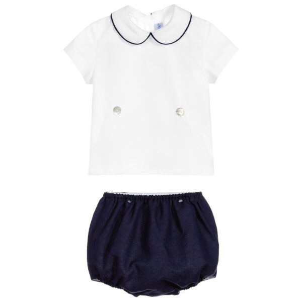 Ancar Navy Blue And White Shorts Set 2
