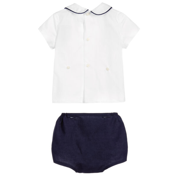 Ancar Navy Blue And White Shorts Set 3