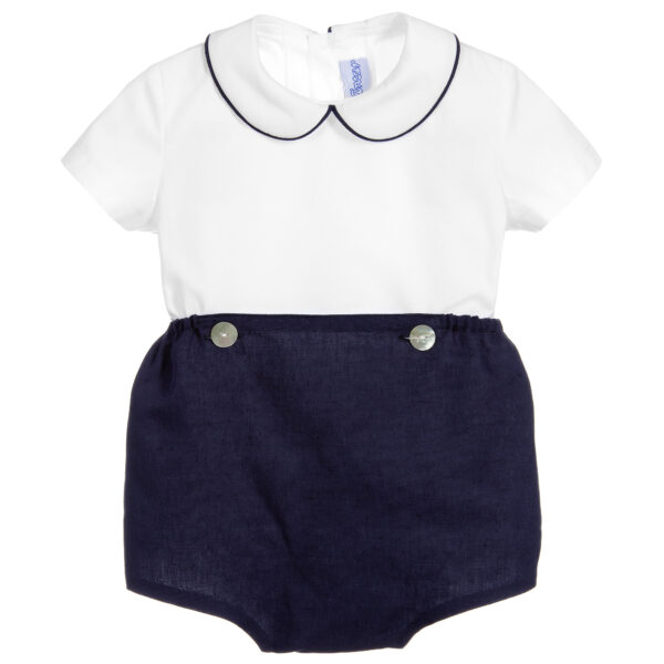 Ancar Navy Blue And White Shorts Set