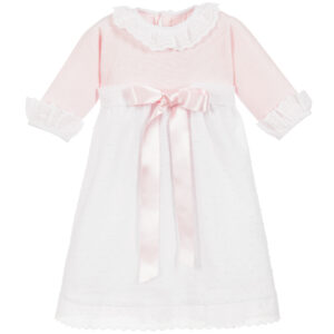 Ancar Pink & White Cotton Dress For Little Princesses