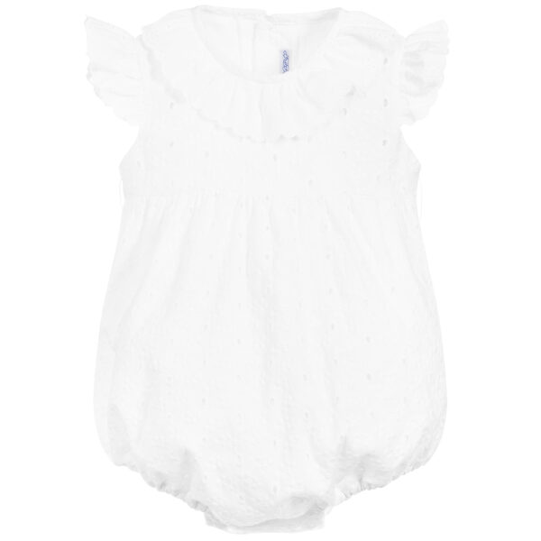 Ancar White Cotton Shortie With A Blue Bow 2