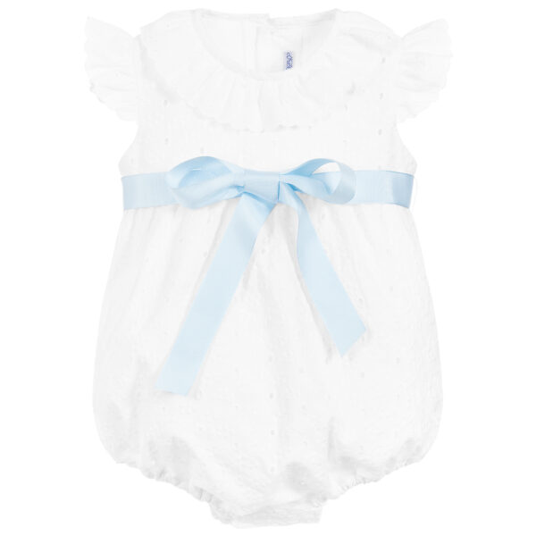 Ancar White Cotton Shortie With A Blue Bow