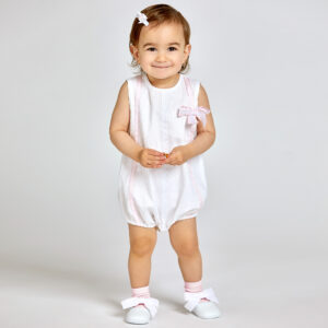 Ancar White & Pink Cotton Bodysuit For Girls 1