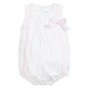 Ancar White & Pink Cotton Bodysuit For Girls
