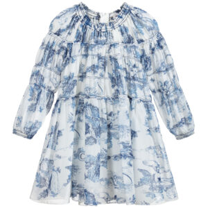 Chloé Blue And White Silk Dress