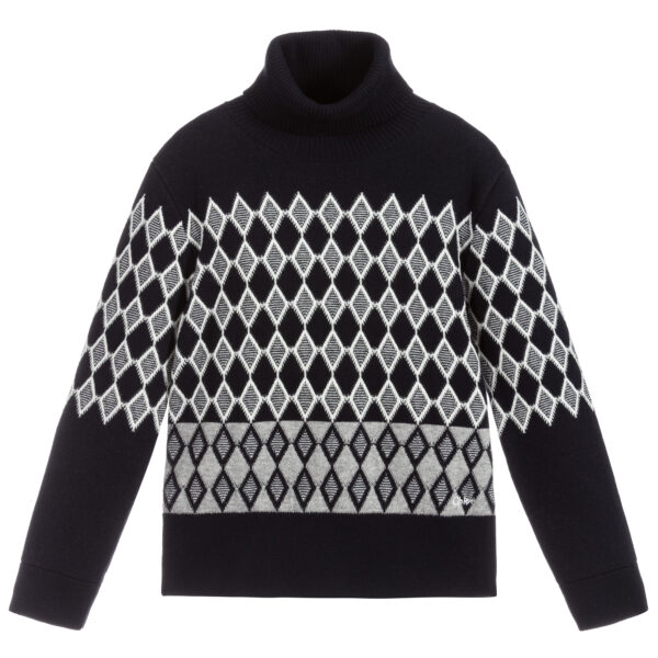 Chloé Blue & White Knitted Roll Neck