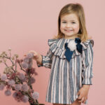 Foque Pink And Navy Blue Striped Dress 1