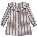Foque Pink And Navy Blue Striped Dress 2