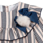 Foque Pink And Navy Blue Striped Dress 3