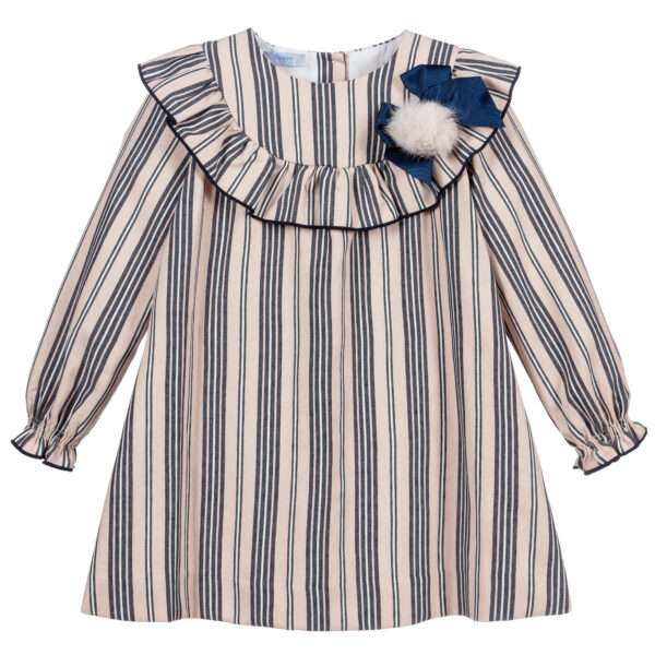 Foque Pink And Navy Blue Striped Dress