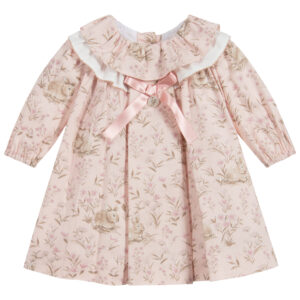 Foque Pink Cotton Dress For Little Girls