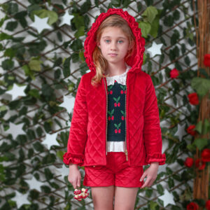 Foque Red Velour Shorts For Girls 1