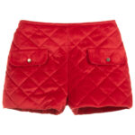 Foque Red Velour Shorts For Girls