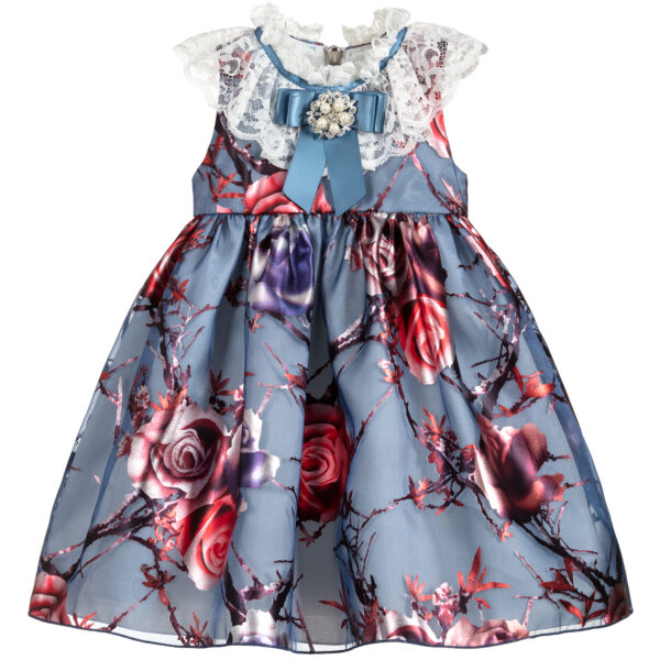Graci Blue Organza Dress For Baby Girls