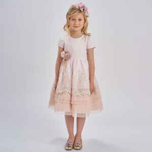 Graci Girls Pink & Ivory Lace Dress 1