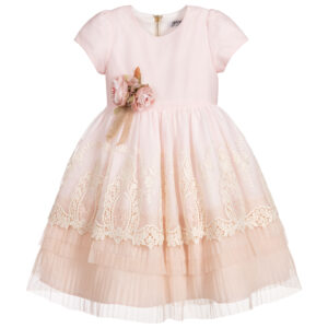 Graci Girls Pink & Ivory Lace Dress