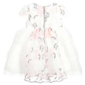 Graci Girls White Tulle Dress With Roses 1