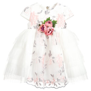 Graci Girls White Tulle Dress With Roses