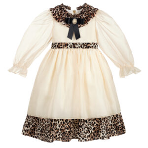 Graci Ivory Dress With Leopard Print