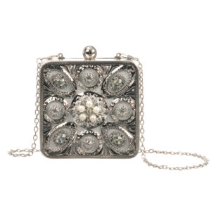 Graci Little Silver Beaded Handbag (11.5cm)