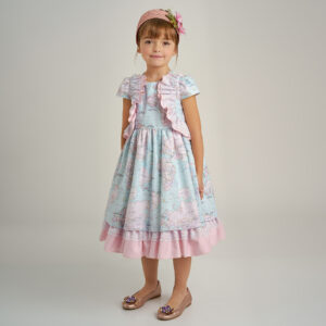 Graci Pink & Blue Map Print Dress 1