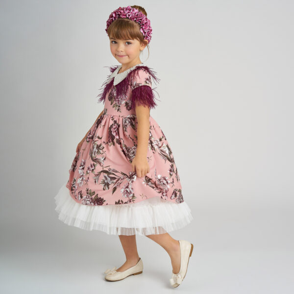 Graci Pink Dress With Purple Feather Fronds 1
