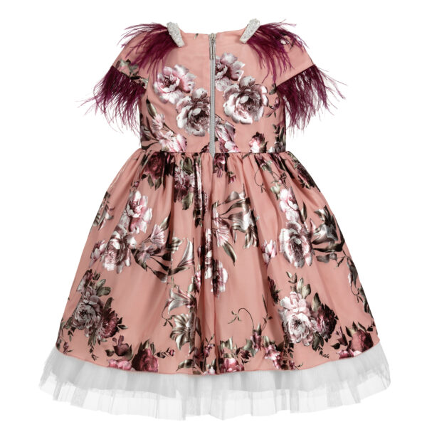 Graci Pink Dress With Purple Feather Fronds 2
