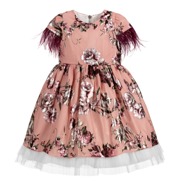 Graci Pink Dress With Purple Feather Fronds 3