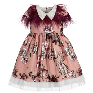 Graci Pink Dress With Purple Feather Fronds